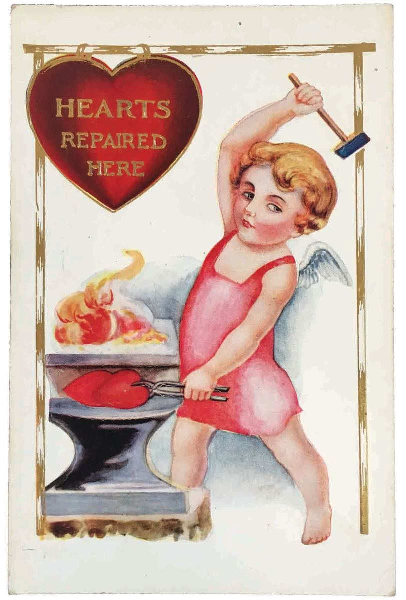 This is a lovely embossed postcard with an illustration of Cupid as a blacksmith, mailed in 1916; $11.