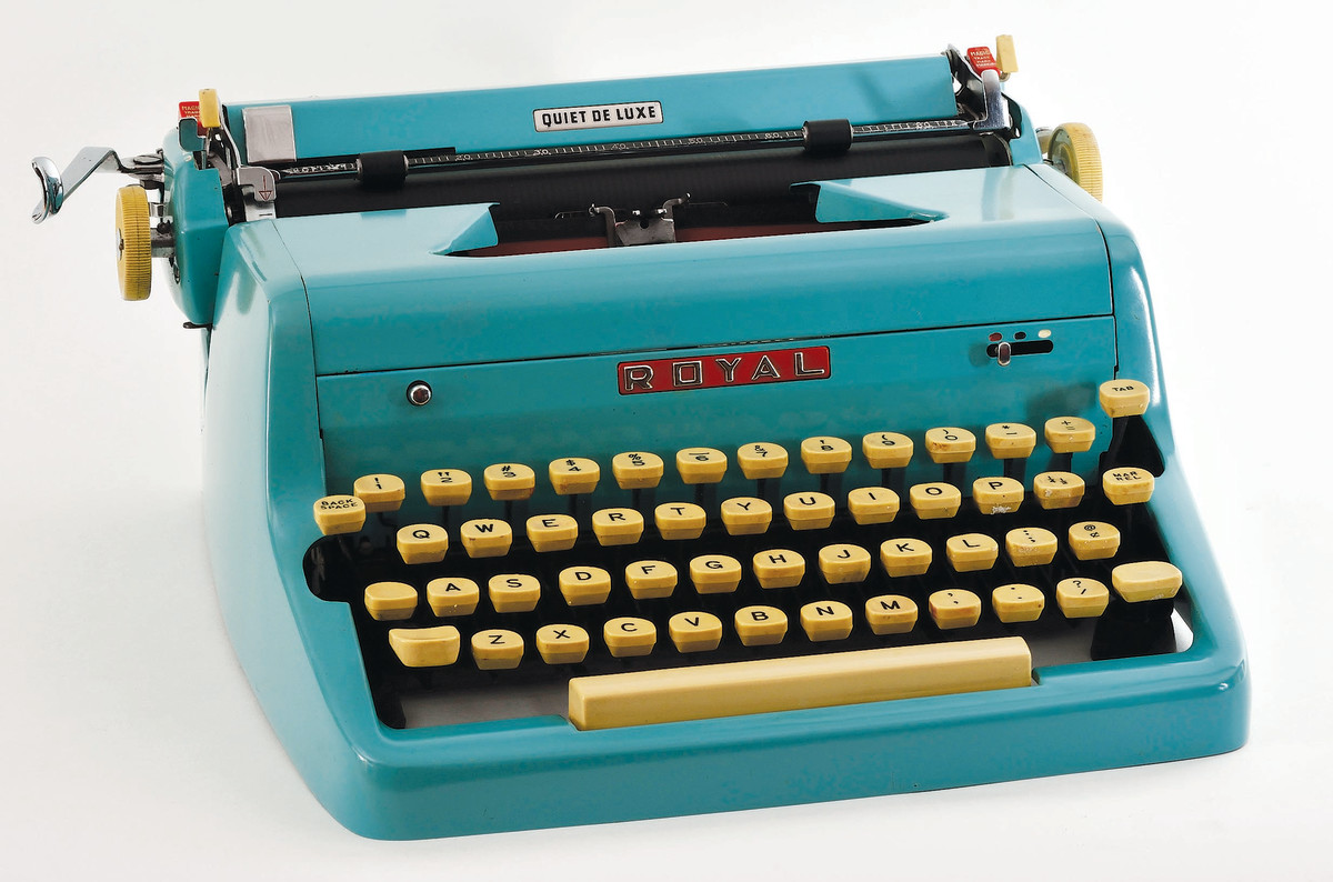 The soft cream-colored keyboard along with its bright pastel color options made the Royal Quiet DeLuxe, 1955, one of the more remarkable looking typewriters of its time.