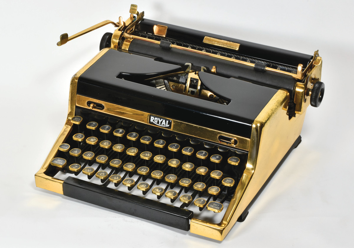 The Golden Royal Portable, 1949, was an 18-kara gold and black beauty. It was a luxury item available to anyone willing to pay a premium price for its exotic finish. Author Ian Fleming, of James Bond fame, is said to have paid $174,000 for one in 1952.