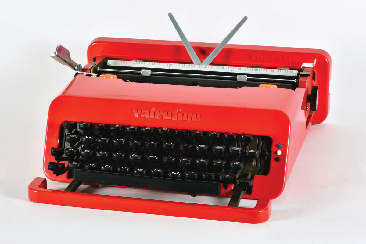 With its sassy avant-garde appearance, the Olivetti Valentine, 1969, featuring a bright red modern body design created by noted Italian designer Ettore Sottsass and British designer Perry King, is a favorite with typewriter collectors and commands a premium price when sold.