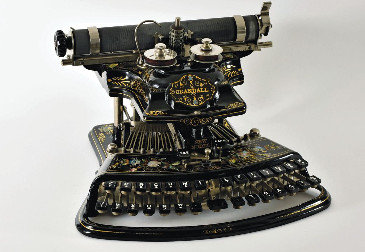 The Crandall New Model, 1887, was invented by Lucien S. Crandall and is considered by many to be one of the most beautiful typewriters ever manufactured. It is highly prized by collectors.