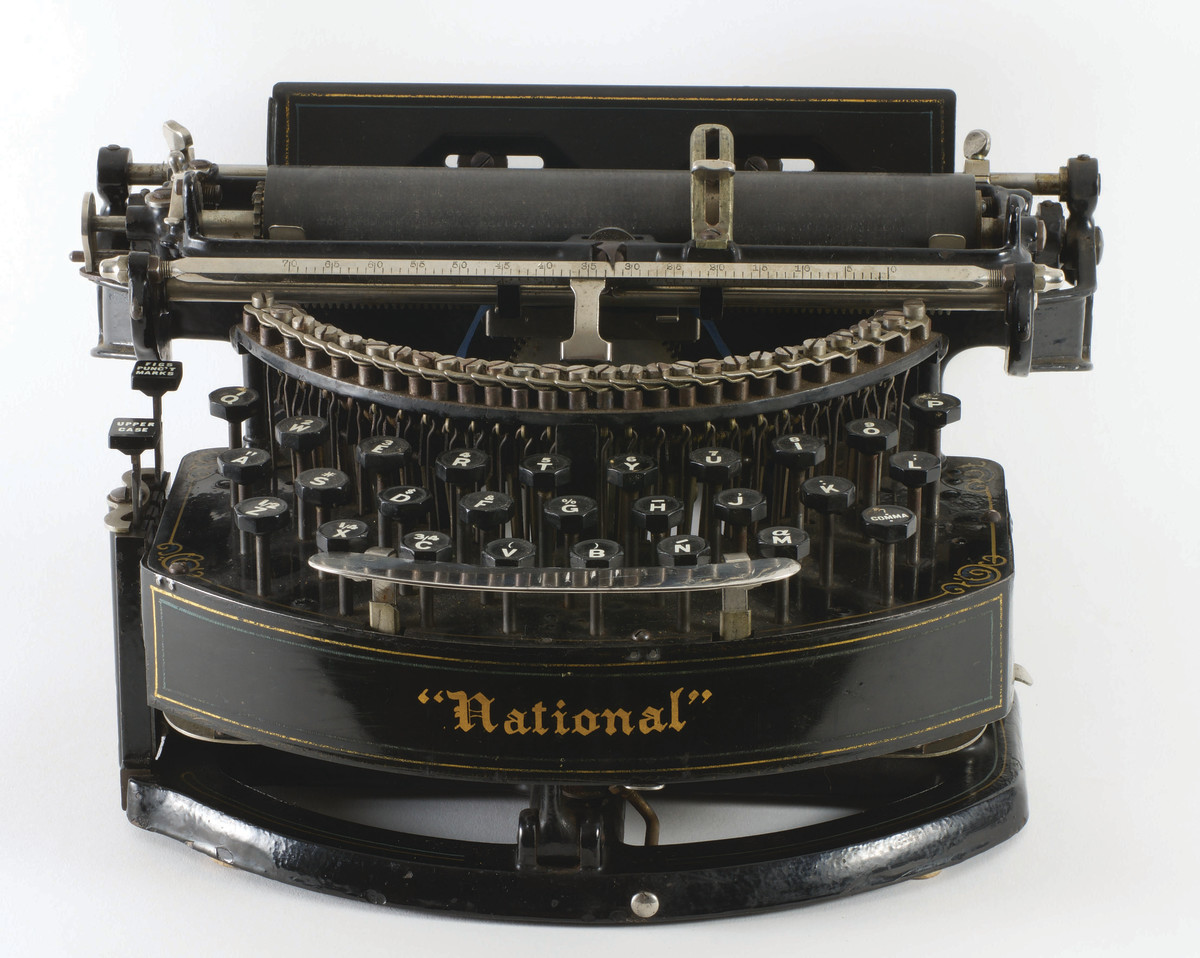 The National typewriter, 1889, was invented by Henry Harmon Unz of Philadelphia and features a three-row, gracefully curved keyboard.