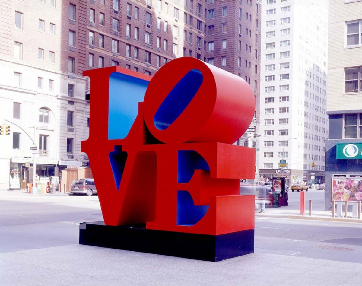 So popular was his work, Robert Indiana was compelled to create many versions of his LOVE sculpture; this one is located on the corner of 6th Avenue and 55th Street in Manhattan.