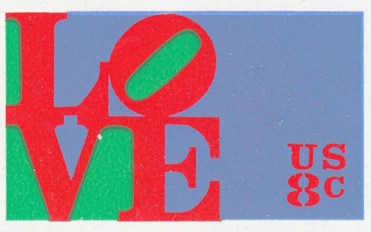 The first United States Love stamp, designed by Robert Indiana, was issued in 1973.