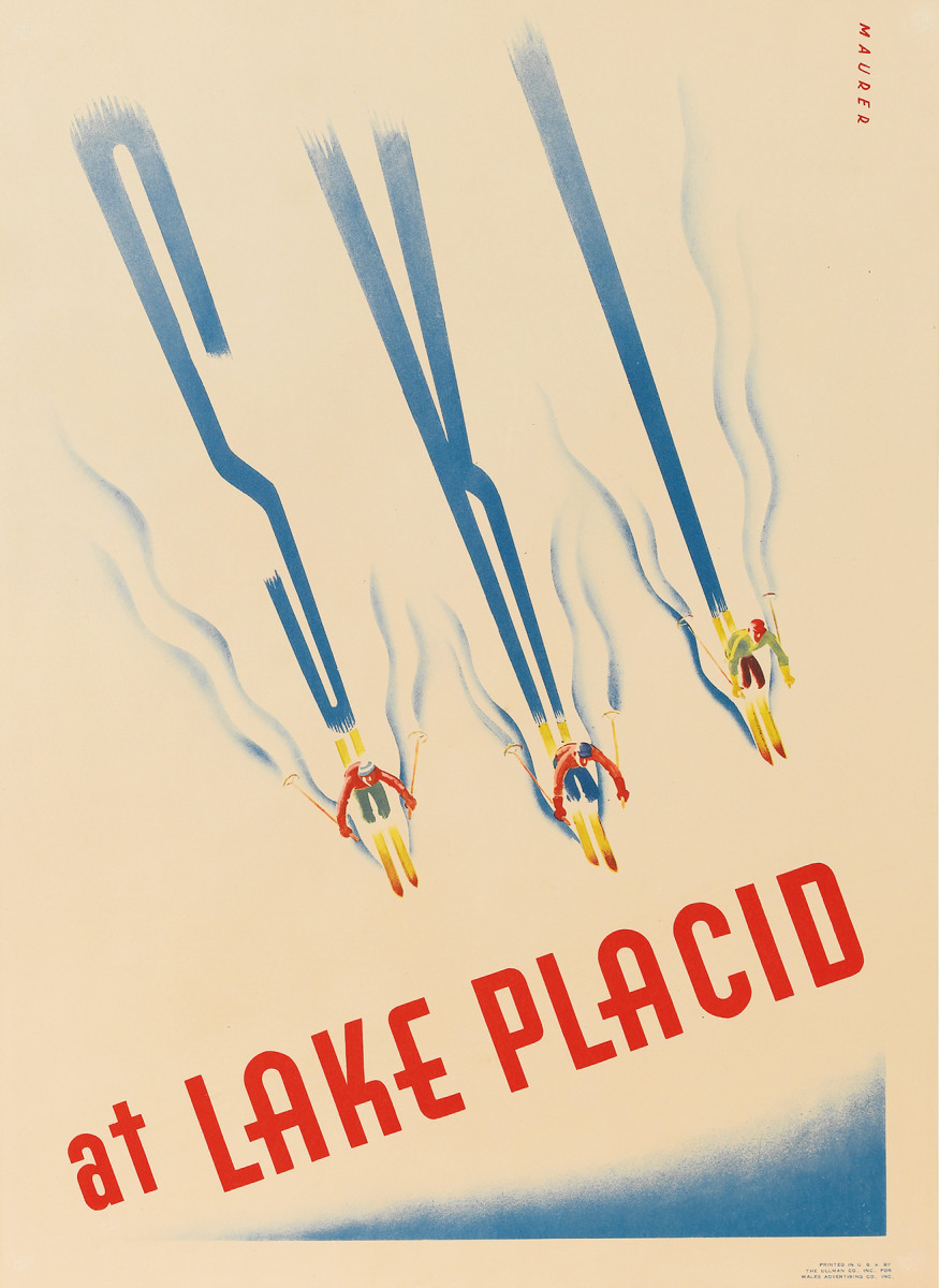 2. Sascha Maurer, 1938.  This is one of the great American ski posters. The motif of skiers spelling out the names of resorts or other messages in the snow has been often used, but Sascha Maurer, who was born in and studied in Germany, brings much of the European design sensibility to this image.