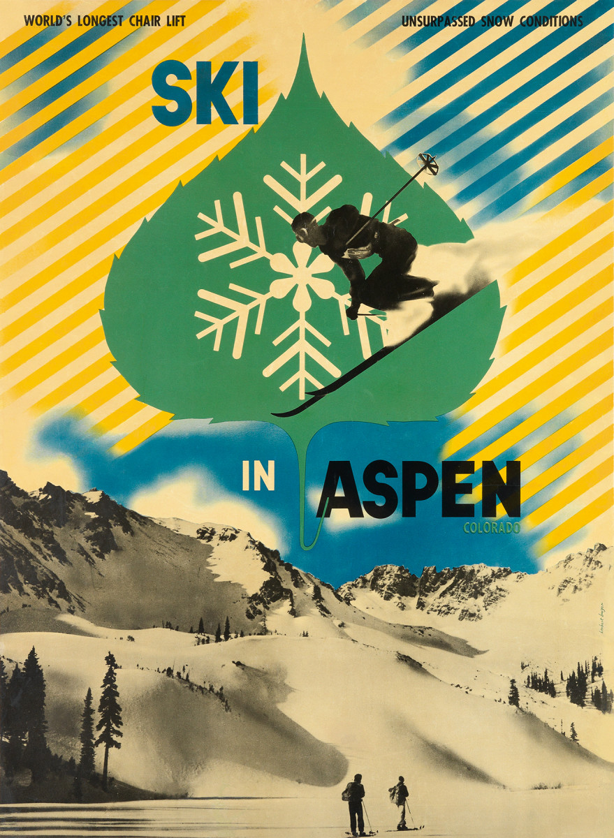 12. Herbert Bayer, 1946.  The great Bauhaus designer Herbert Bayer immigrated to America and ultimately settled in Aspen, Colorado. He designed two posters for the resort. He is one of the most famous artists to have ever designed a ski poster in America and this poster beautifully showcases the photomontage technique that he mastered in Europe.
