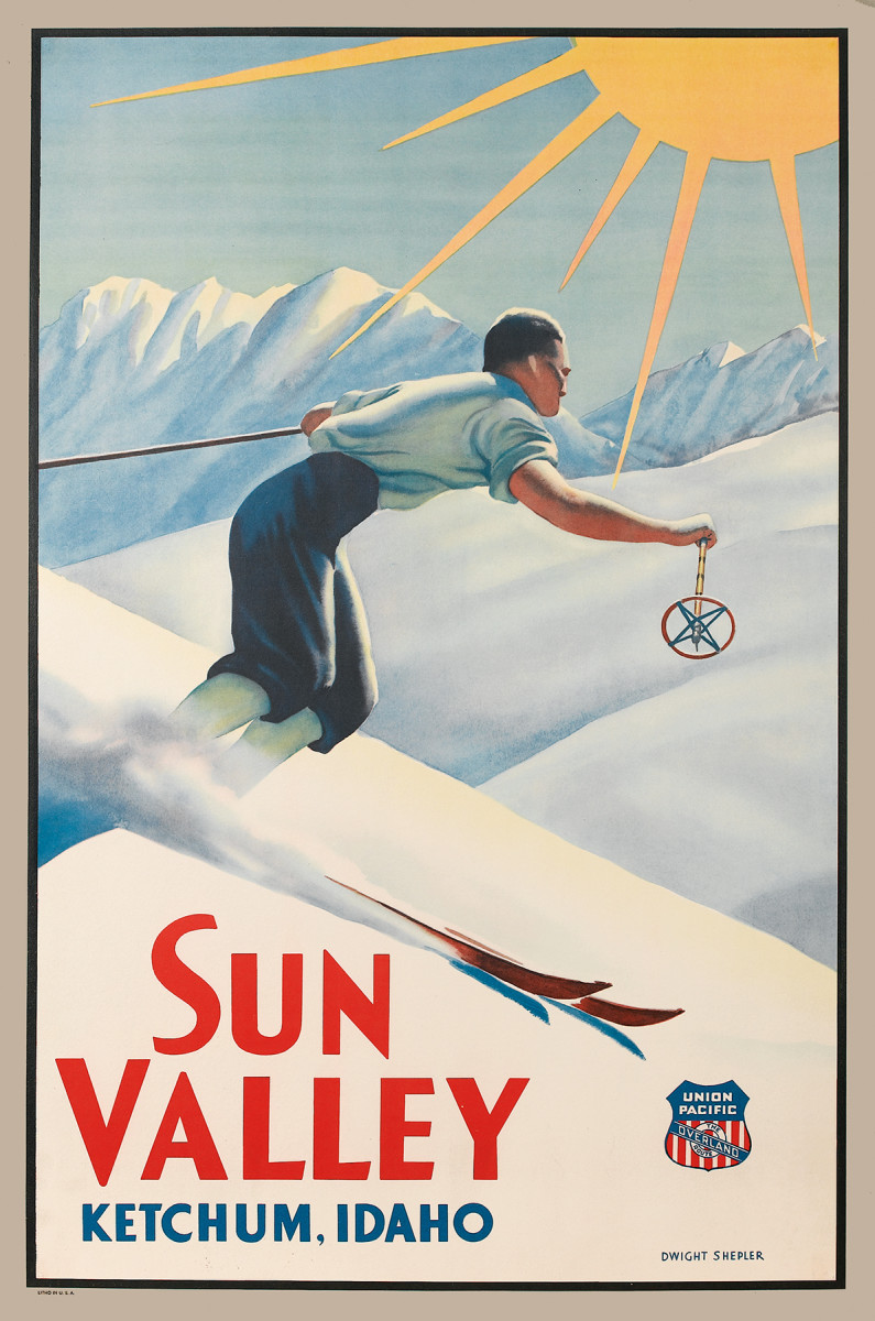 9. Dwight Shepler, circa 1940.  Ski posters were by no means only relegated to the American Northeast. Out West, the resort that relied the most heavily on poster advertising was Sun Valley. This is no surprise as the resort was built by the railroad company (it opened in 1936) as a place for travelers to stop on their way out West. Railroad companies have used posters for promotion since the 1880s, so they would naturally gravitate towards that medium to promote the newest jewel in their crown.