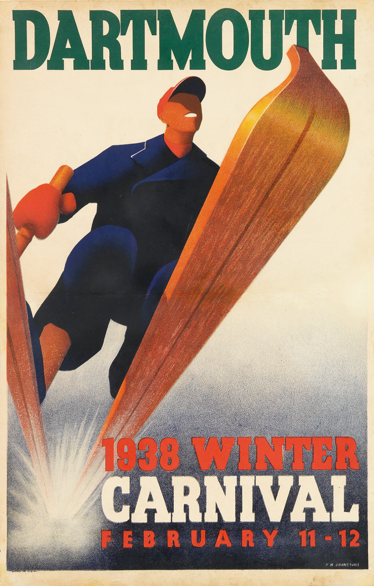 4. T. N. Joanethis,1938.  The Dartmouth Winter Carnival may well be the longest standing winter celebration in America. It is certainly the event which has produced the largest and most important legacy of ski posters in the United States. I love the similarity between this poster and the previous example. And while imitation is the sincerest form of flattery, I really am not sure which one of these came first.