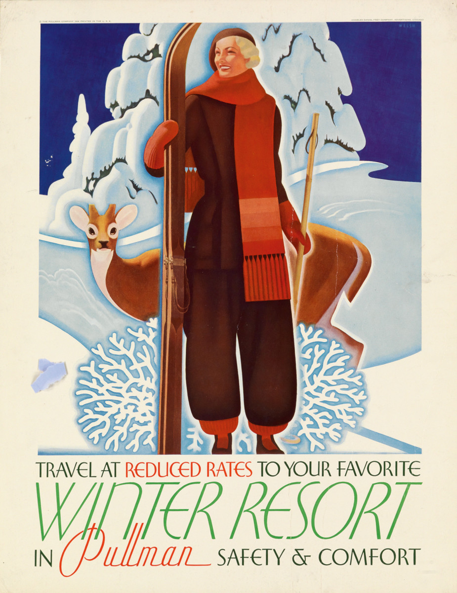 7. William Welsh, circa 1935. This poster holds a very warm place in my heart. Not only is it an exquisite Art Deco image, but one of the first times I was broadcast on Antiques Roadshow was when the artist's granddaughter came in with a collection of his works, including this poster.