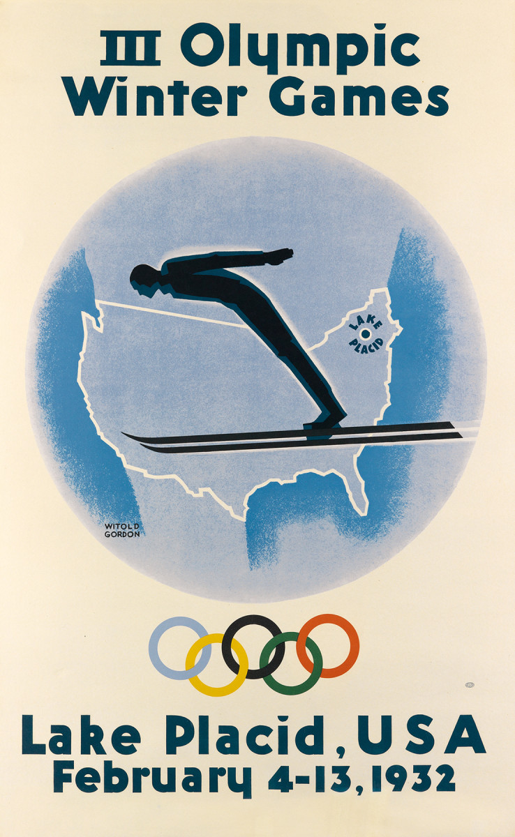 6. Witold Gordon, 1932. The 1932 games in Lake Placid, NY were the first time the Winter Olympics had been held in America. Unfortunately it was held during the Depression, and not every country was able to send a full (and fully equipped) team. Posters quite often dovetail fascinatingly with history and I am always excited to discover interesting historical information that helps me appreciate posters not just as attractive images, but as important historical documents.