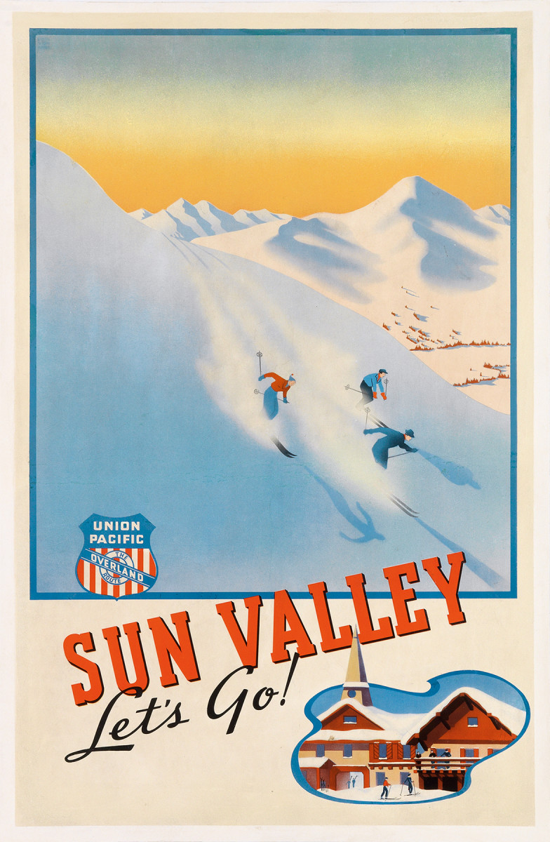 11. Phil von Phul, circa 1940.  Another of the very rare Sun Valley posters. True railroad buffs will recognize that the logo which appears on all three of these Sun Valley posters is the logo the Union Pacific used in the mid to late 1930s.
