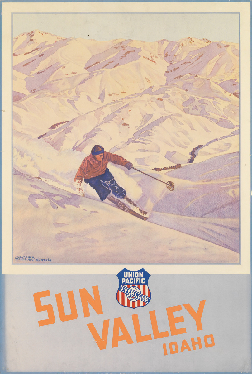 10. Augustus Moser, circa 1936.  Posters for Sun Valley were produced by the Union Pacific Railroad, which would imply that quite a number would have been printed to hang in stations and ticket offices all up and down their line. However, in many cases only a very small handful of each poster exists. Such is the case with this image, and the other two Sun Valley posters featured here. Their beauty and rarity ensure that they are always very popular among both collectors and institutions seeking to acquire them.