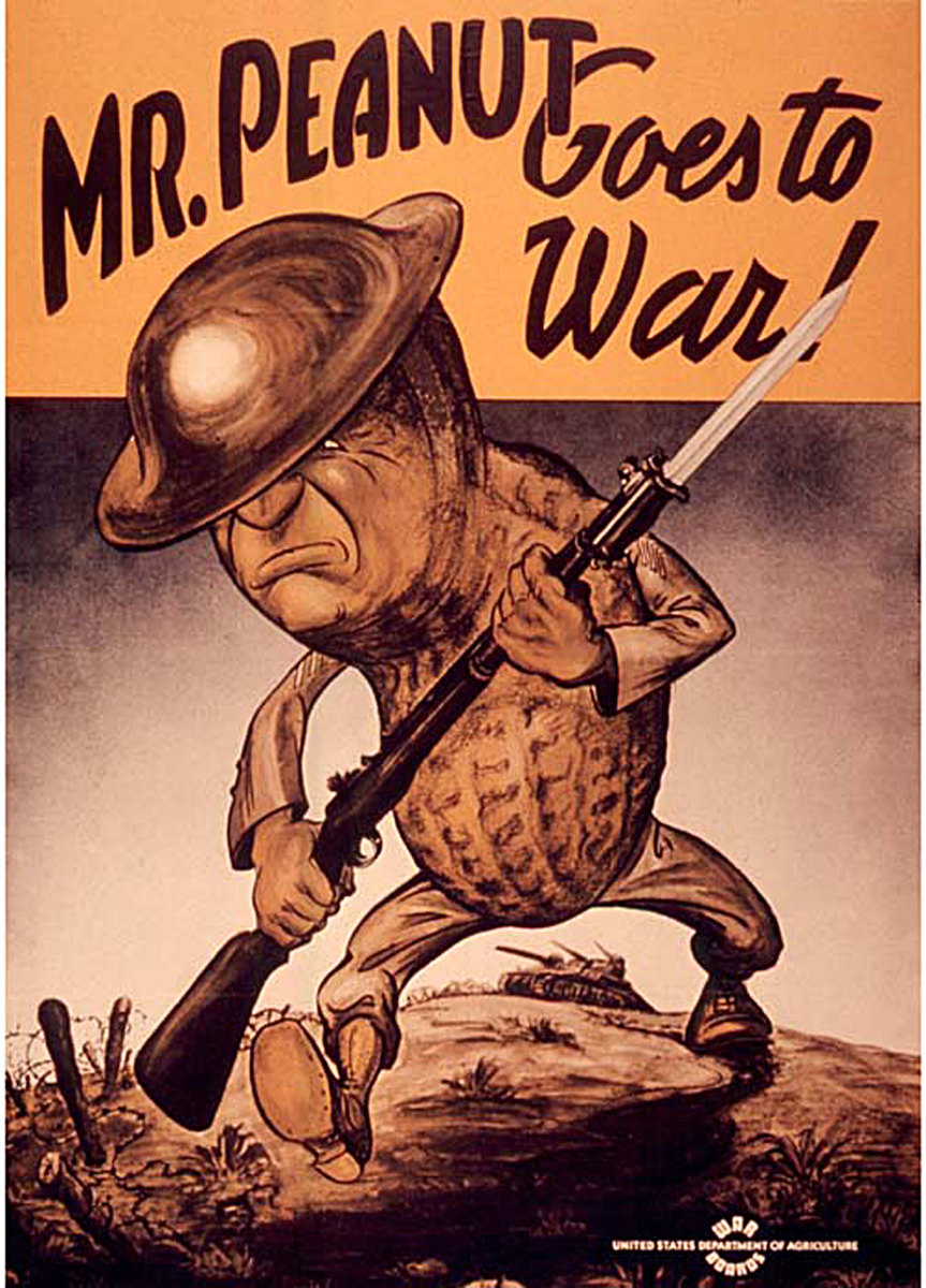 Mr Peanut Goes to War! Date c. 1941-1945; Source Flickr: Mr. Peanut Goes to War!
