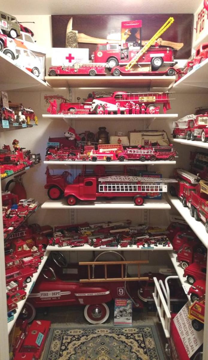 Fire trucks and other related fire department memorabilia.