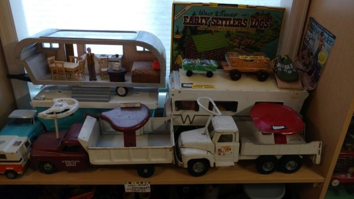 Various Sit -N-Ride toy vehicles from the 1960s and 1970s.