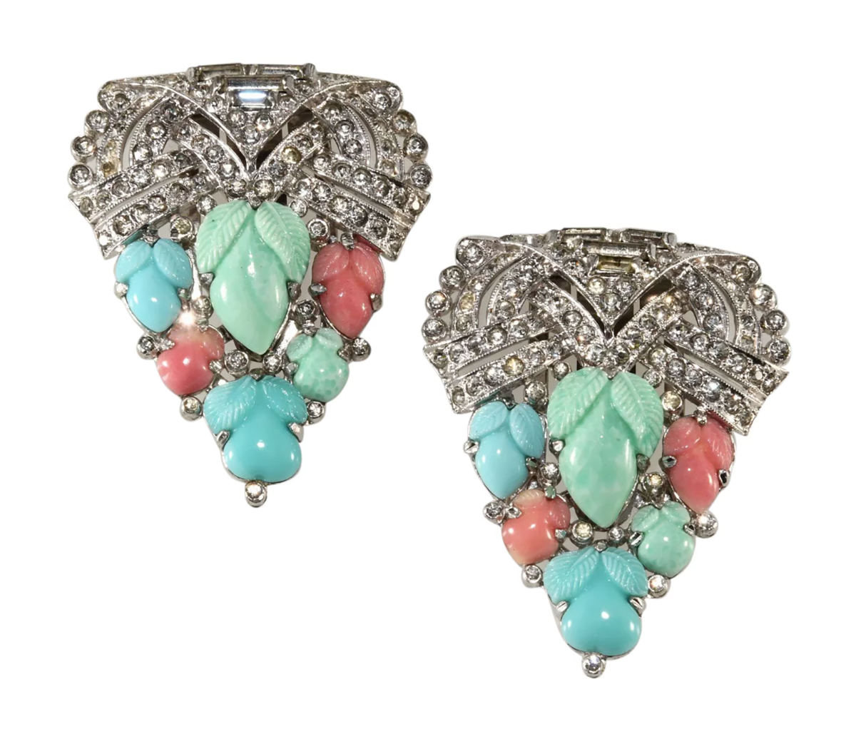 "Trifari matched set of dress clips with ""Fruit Salad"" stones, c. 1935."
