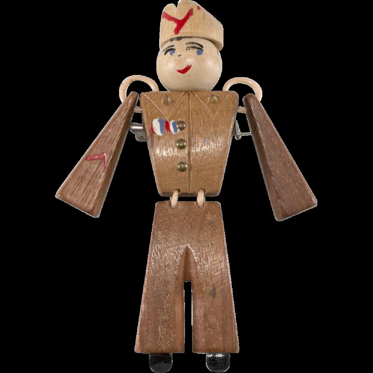 "Wooden ""Sweetheart""  soldier brooch, early 1940s."