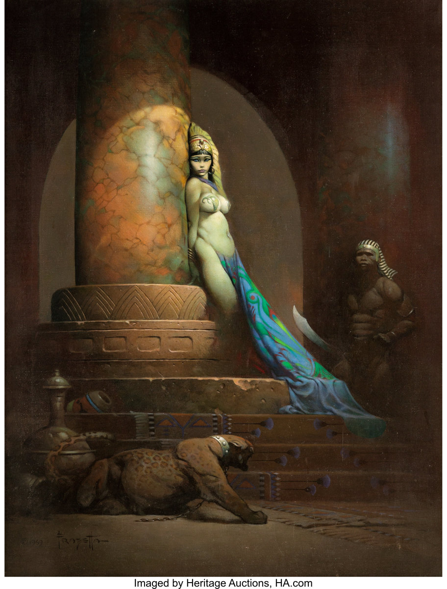 "The most expensive original piece of comic art, Egyptian Queen, by Frank Frazetta, sold in May 2019 for $5.4 million. ""This result elevates Frank Frazetta's art into the stratosphere of visual narrative art on a par with the likes of Norman Rockwell, Maxfield Parrish and other luminaries,"" said Heritage Auctions Vice President Todd Hignite."
