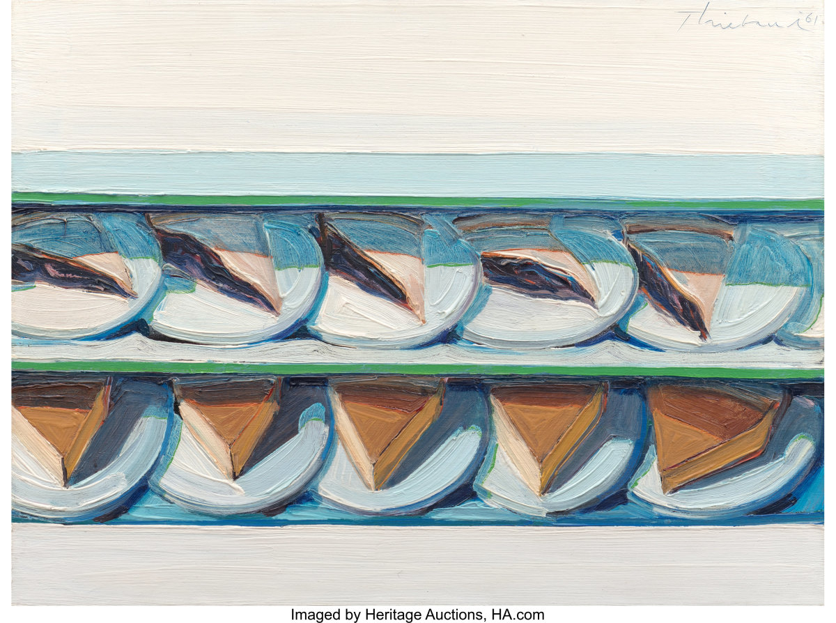 Blueberry Custard, 1961 by Wayne Thiebaud (b. 1920) set a house record as the most expensive piece of fine art sold at Heritage Auctions, after it sold for $3.2 million in November 2019.