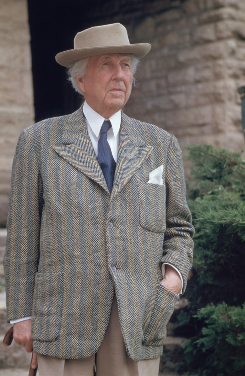 Frank Lloyd Wright outside Taliesin, the home and school he designed for himself in Spring Green, Wisconsin.