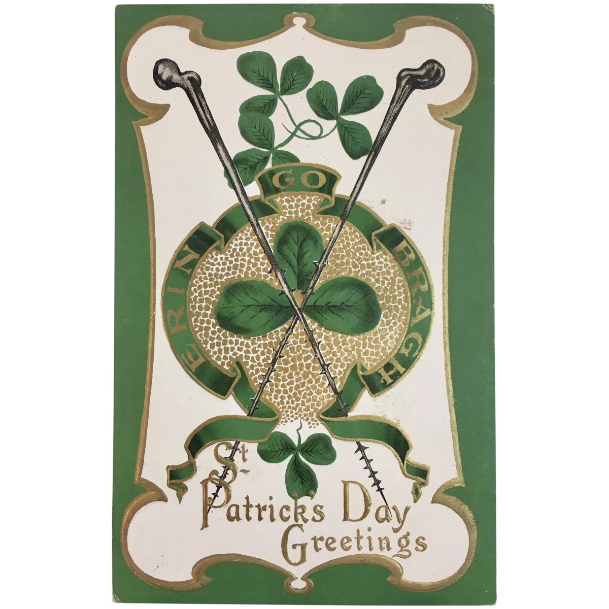 This St. Patrick's Day postcard features the famous Blackthorn walking sticks and several good-luck shamrocks; $12.