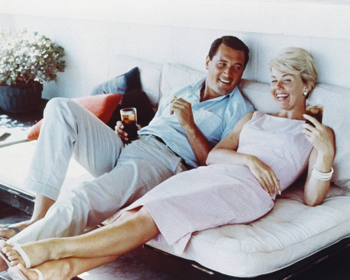 "Doris Day and Rock Hudson (1925-1985), photographed here in 1960, were in three movies together and became lifelong friends. I call him Ernie,"" Day once said of Hudson, ""because he's certainly no Rock."""