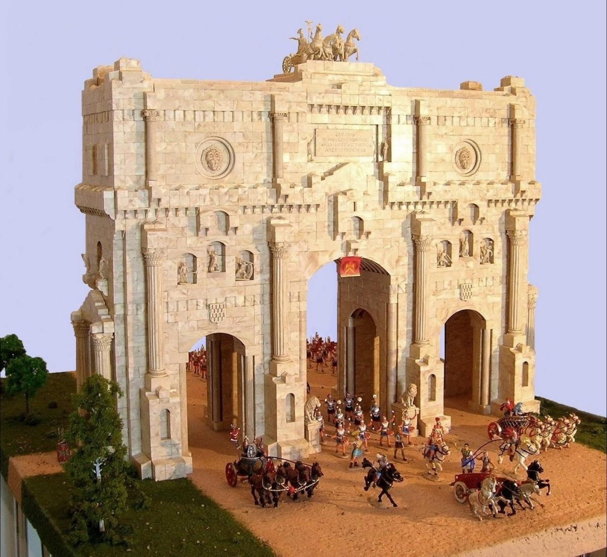 Exin Roman Triumphal Arch with Elastolin Roman figures, by Joaquín Morales.