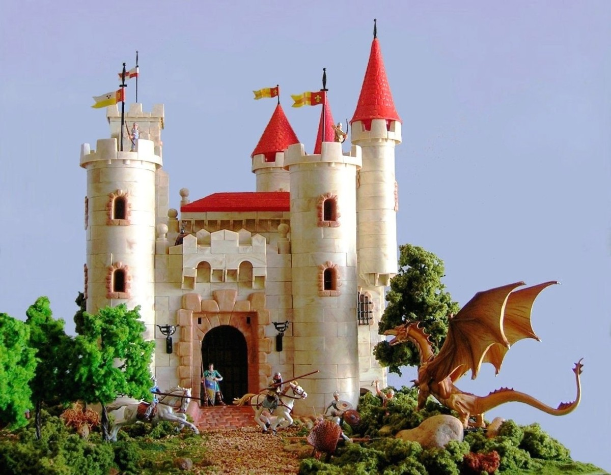 Exin Dragon's Castle, knights and soldiers battle a dastardly dragon, by Joaquín Morales (dragon by Warhammer).