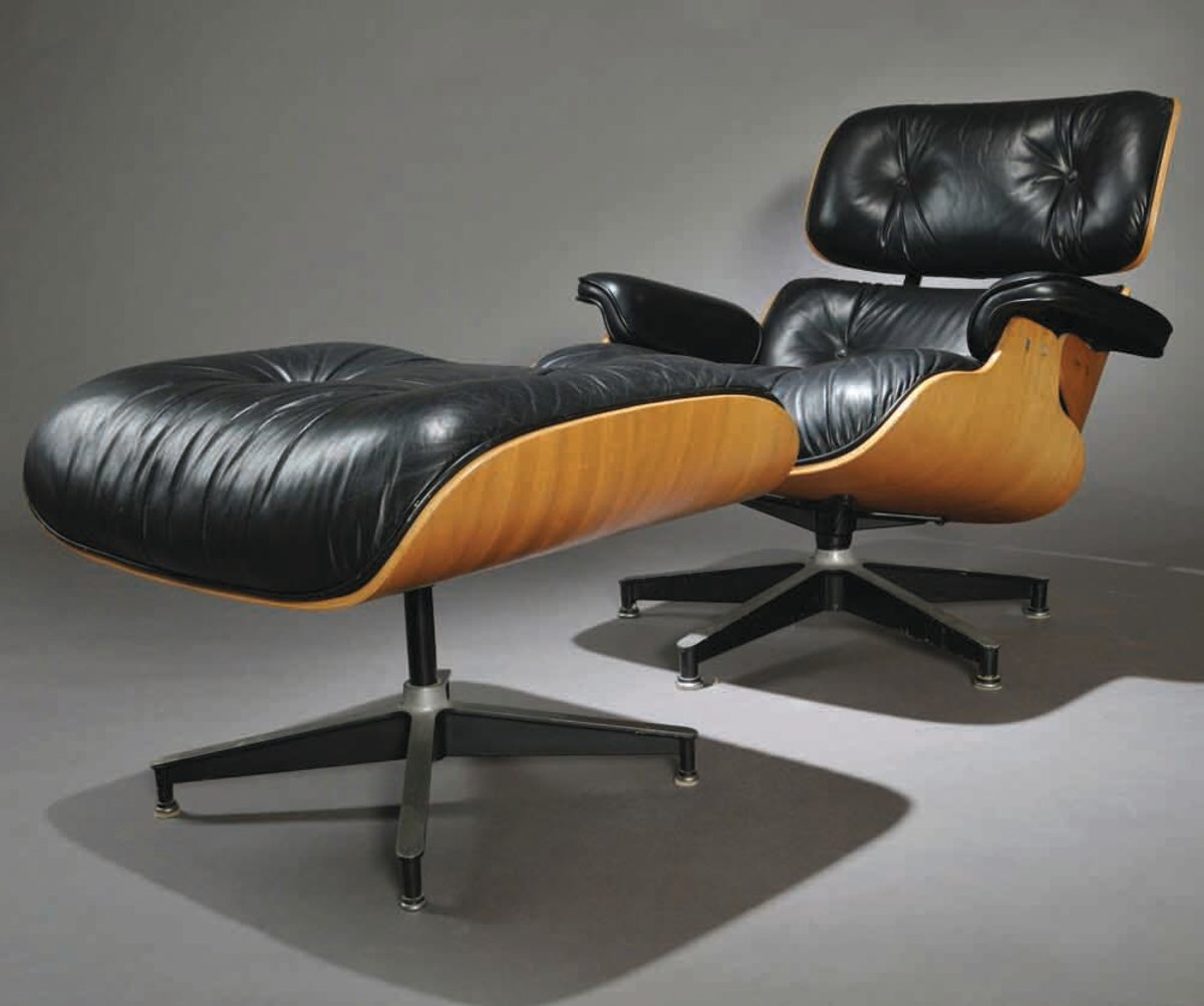 A mid-century modern Charles and Ray Eames lounge chair (model no. 670) with ottoman (model no. 671) produced by Herman Miller continues to be an enticing look.