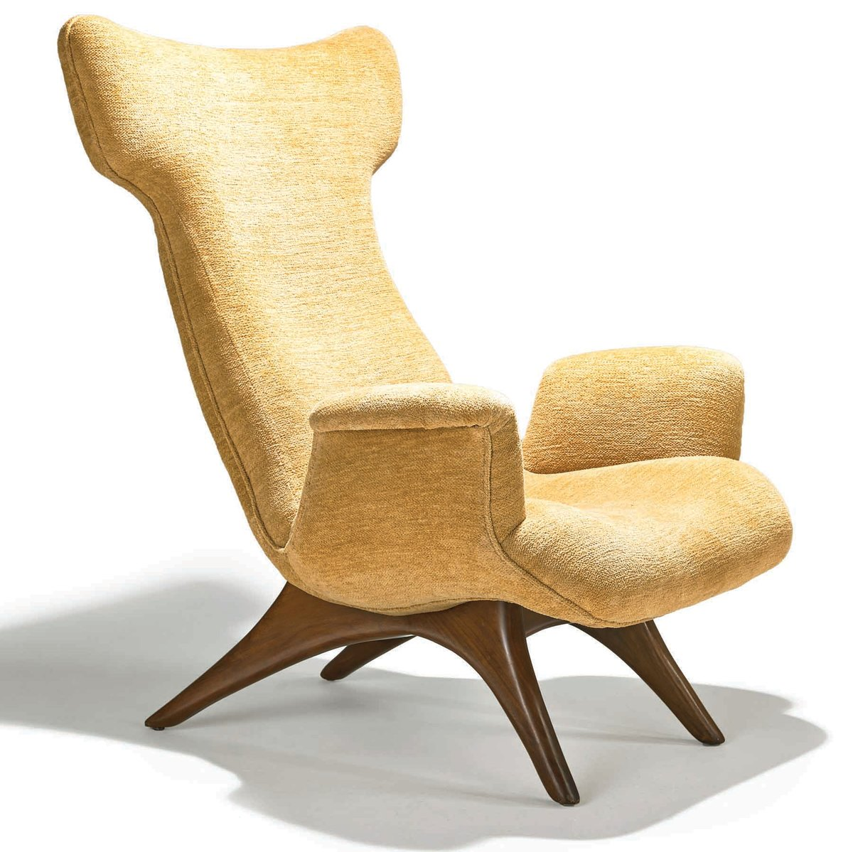 A wing lounge chair designed and manufactured by Vladimir Kagan.