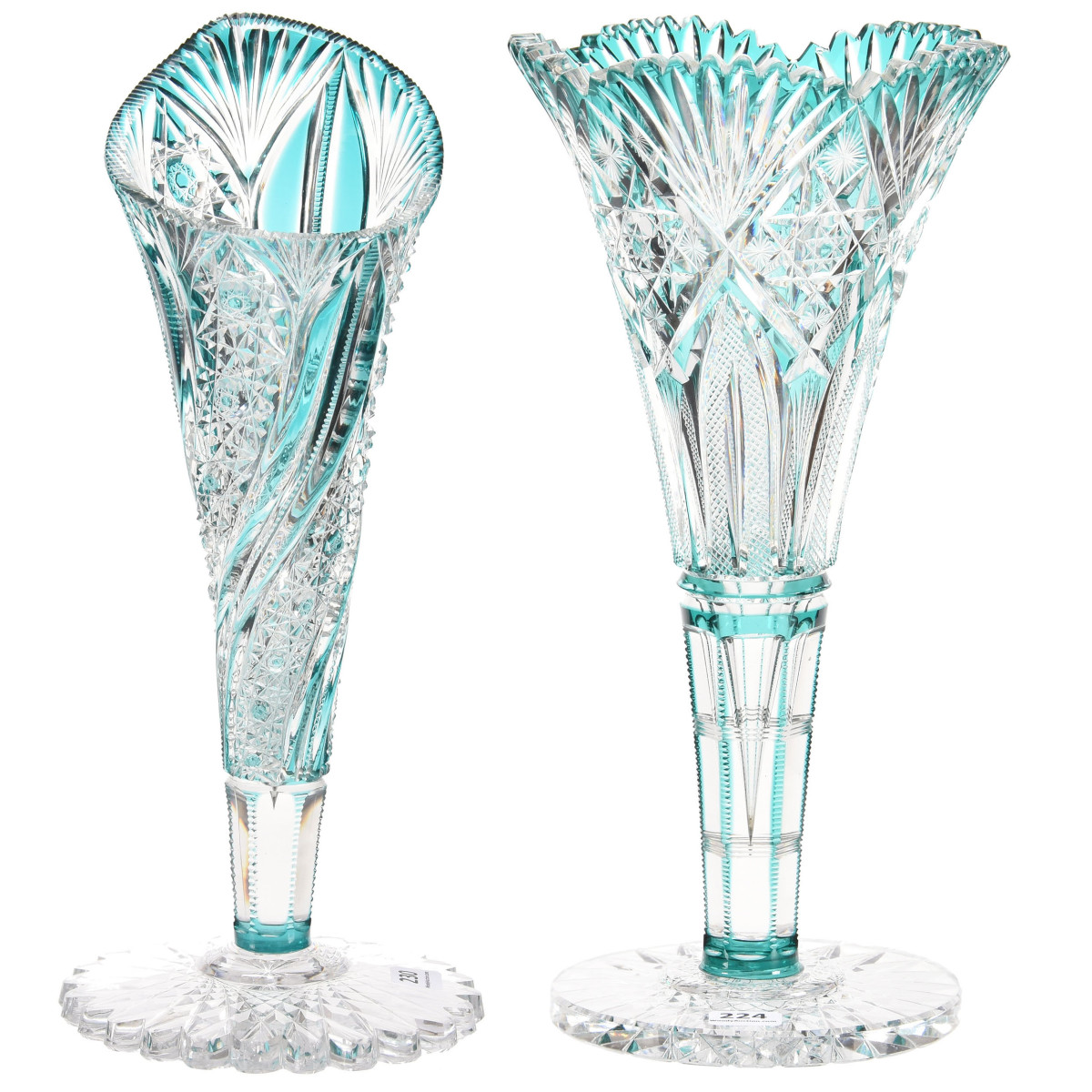 """These two ABCG cut to clear turquoise vases will be sold as separate lots. One is 12"""" h, by Hawkes, in the Venetian pattern; the other is 13"""" h, and by J. Hoare, in the Russian and Pillar pattern."""