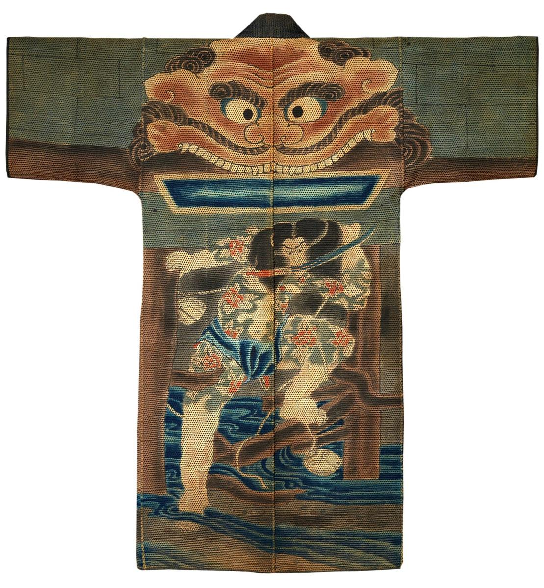 This mid-19th century jacket is decorated with the image of Rorihakucho Cho Jun (Zhang Shun), whose fearlessness and courage was popular in 19th-century Japan. Cho Jun was one of the 108 heroes of the Stories of the Water Margin, translated from Chinese into Japanese during the second half of the Edo period, and became the subject of works by celebrated print artists. This composition is based on a print by Utagawa Kuniyoshi, published around 1827–30. The righteous rebel is seen carrying a sword in his mouth as his characteristically pale, muscular and tattooed body forcefully emerges from a destroyed water gate.