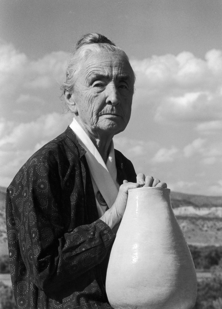 "Georgia O'Keeffe with a clay pot in Abiquiu, New Mexico, in 1974. O'Keeffe died on March 6, 1986, in Santa Fe. Her ashes were scattered at Cerro Pedernal, which is depicted in several of her paintings. ""It's my private mountain,"" O'Keeffe said of Pedernal. ""It belongs to me. God told me if I painted it enough, I could have it."""