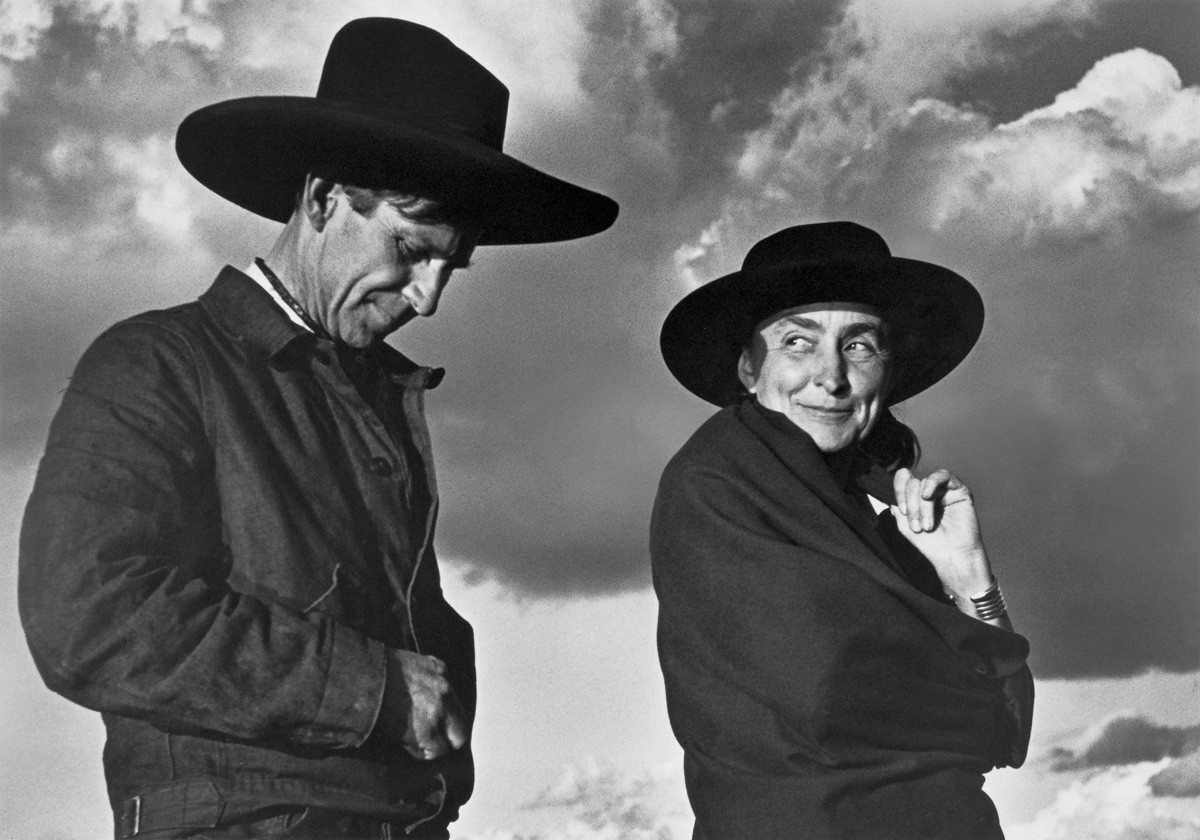 Ansel Adams' iconic photo of O'Keeffe and Orville Cox, the head wrangler at Ghost Ranch, O'Keeffe's home and studio in New Mexico.