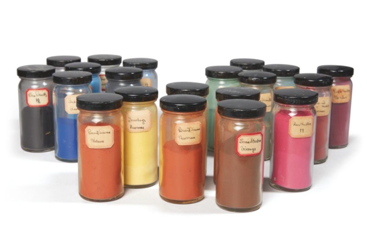 A collection of 18 jars of pigment labeled and used by O'Keeffe. The jars contain varying amounts of pigment (from full to just a trace), each affixed with an adhesive label with the color of the pigment written in O'Keeffe's hand.The colors in these jars include Vermilion, Orange Vermilion, Zinc Green, Permanent Blue, Brown Madder, Terra d'Ombra, Blue Black, Ivory Black, Zinc Yellow, Terra Rossa, and Ultramarine. On the labels, O'Keeffe consistently spells vermilion with a double L. Sold for $75,000.