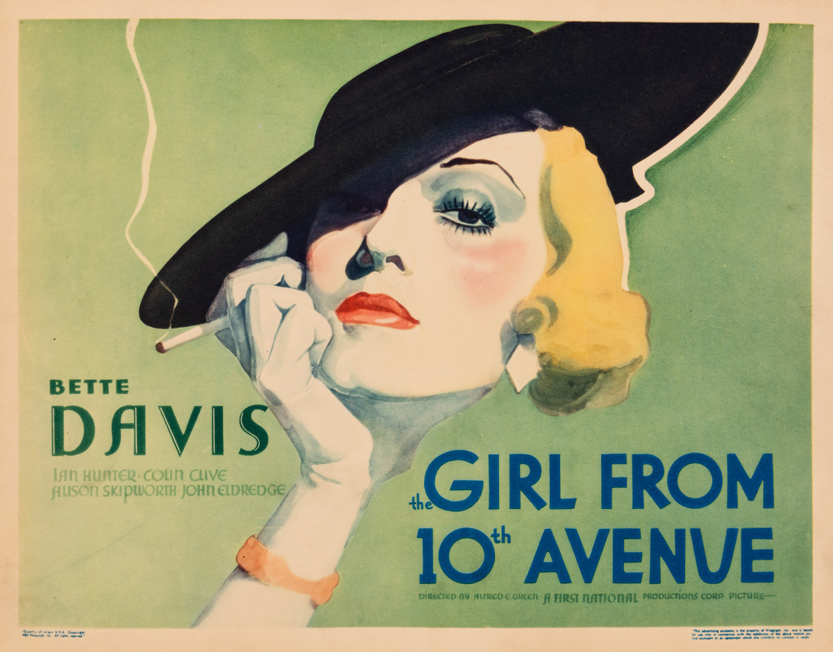 "The Girl From 10th Avenue (1935): During the height of Depression-era New York, the difference between a Fifth Avenue and a Tenth Avenue street address was a chasm almost too wide to fathom. Yet this division, and a somewhat implausible narrative, produced this ravishing title card, yet another example of Warner Brothers' early 1930s Art Deco designs. Here, Bette Davis' elegance is deceptive, as her character is a poor working girl who ends up serendipitously married to a society lawyer, on a bender after receiving the boot from his fiancée. The lawyer's ex-showgirl housekeeper volunteers to ""dress up"" Miss Davis enough to hang on to her man. The actress was about to receive her first Oscar, bringing her much-earned respect."