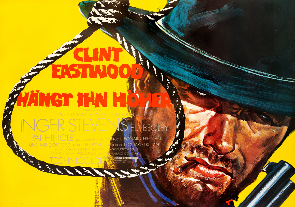 "Hang 'Em High (1968): This is Clint Eastwood's first big Hollywood film, following his overnight success from the Sergio Leone spaghetti western trilogy. It clearly shares much in style and sentiment with those films, as depicted in this wonderfully gritty Herman Kurz design of the actor in full ""Man with No Name"" trappings. Hang 'Em High, a relatively quiet, tough little western, reintroduced Eastwood and his revisionist-cowboy heroic qualities to American audiences."