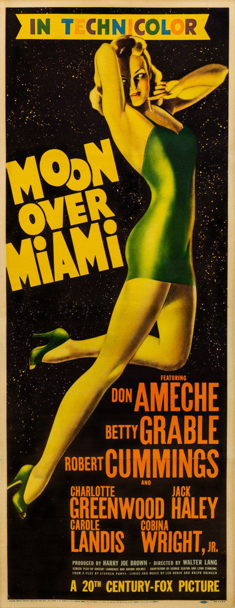 "Moon Over Miami (1941) Prior to his notable work for Esquire magazine, legendary glamour-girl illustrator Alberto Vargas found commissions where he could glamorize ""the most beautiful girls in the world,"" first for Florenz Siegfeld, then for various magazine covers and occasional film publicity. Though hired by Fox to create the entire campaign for the Betty Grable musical film Moon Over Miami, less than a handful of posters ended up with his work unadulterated, with this insert poster best encapsulating Vargas's air-brushed, streamlined interpretation of Grable's assets."