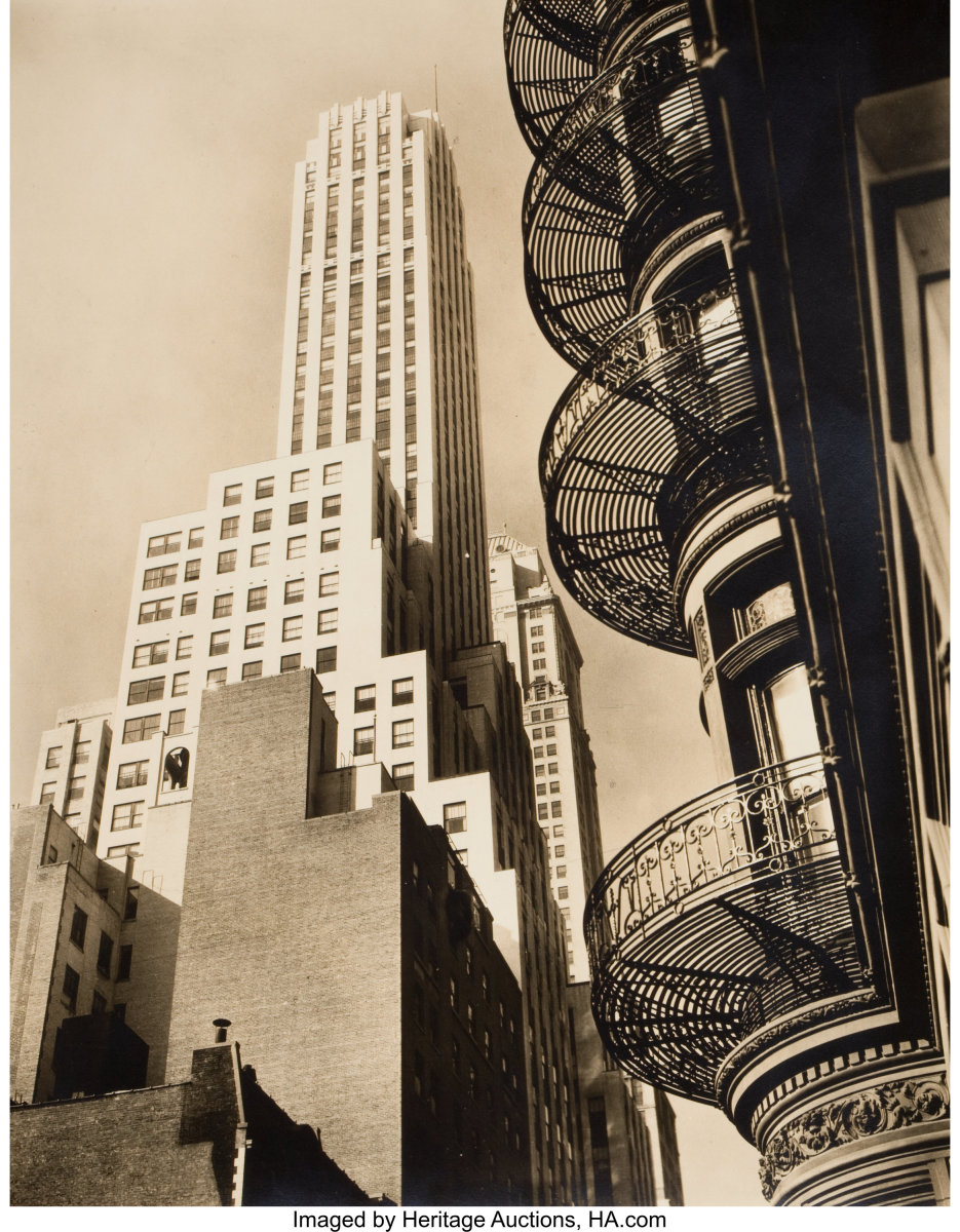 """One of a lot of Five Changing New York Photographs, 1935-1938, vintage gelatin silver, 10"""" x 8"""" each; photos include: Seventh Avenue Looking South from 35th st., 1935; Murray Hill Hotel, Spiral, Park Ave and 40 st., 1935 (the photo shown here); Manhattan Bridge Looking Up, 1936; Canyon, Stone and William st., 1936; and Broadway to the Battery, 1938. Sold for $25,000."""