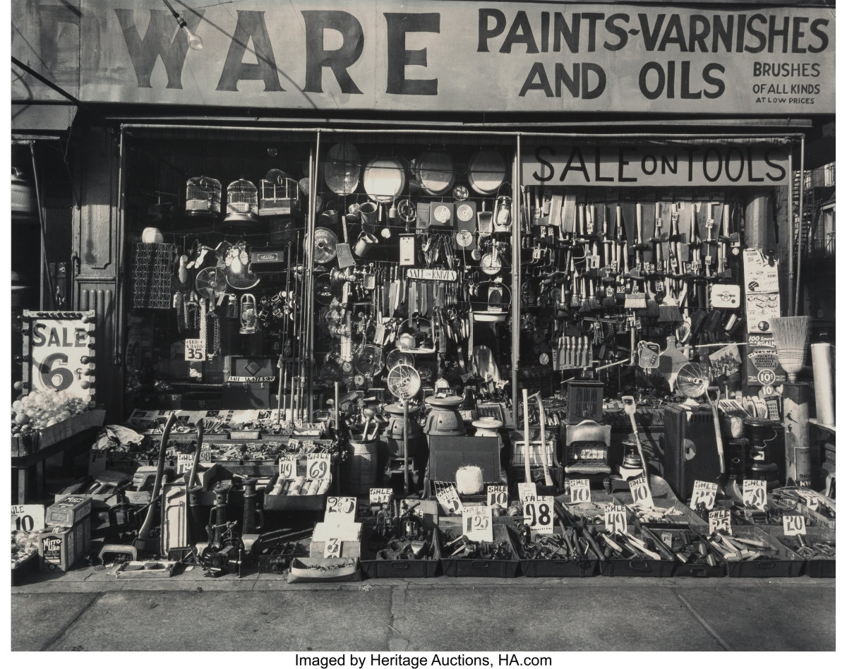"""Heritage Auctions is offering a number of Abbott's photos on April 4 including Hardware Store, 316-318 Bowery, Manhattan, 1938, gelatin silver, printed later, 10-3/8"""" x 13-1/4"""", estimate: $2,000-$3,000."""