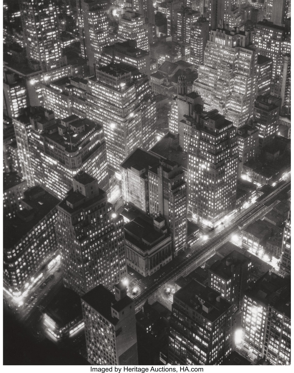 """One of a number of Abbott's photos that will be offered by Heritage Auctions on April 4: New York at Night, 1932, gelatin silver, 13-1/2"""" x 10-5/8,""""; estimate: $6,000-$8,000."""