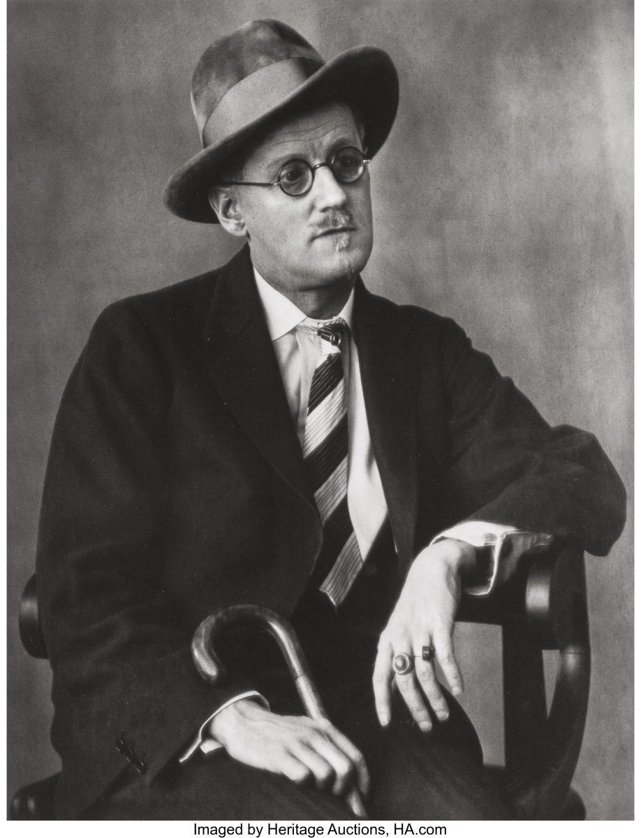 One of Abbott's famous portraits of Irish author James Joyce. Sold for $5,625 at Heritage Auctions.
