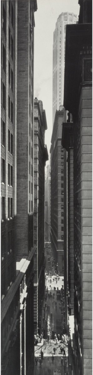 """One of a number of Abbott's photos that will be offered by Heritage Auctions on April 4: View of Exchange Place from Broadway, Manhattan, 1934, gelatin silver, printed later, 19-1/4"""" x 4-7/8""""; estimate: $3,000-$5,000."""
