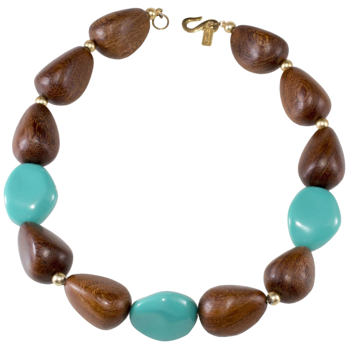 Kenneth Jay Lane resin bead and wood necklace, early-2000s.