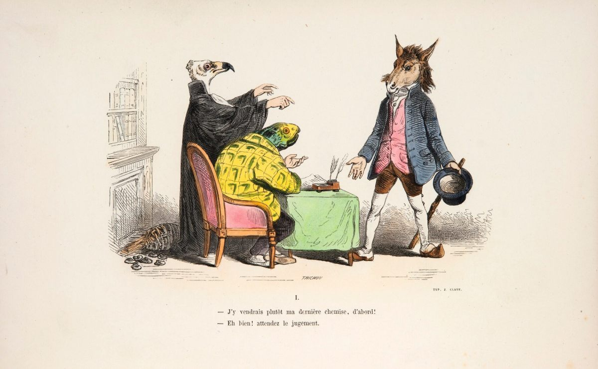 An illustration from Metamorphoses Du Jour of a donkey in the study of lawyers Vulture and Turtle, 1854. The book sold at Sotheby's for $5,350.