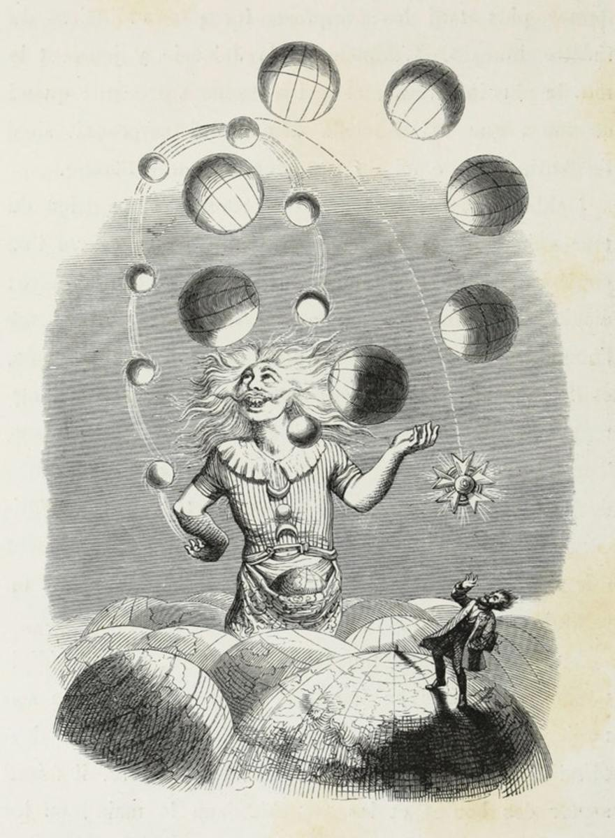 In one of Grandville's best-known drawings, he demonstrates our planetary insignificance, at the mercy of a celestial juggler who amuses himself by playing with unknown worlds.