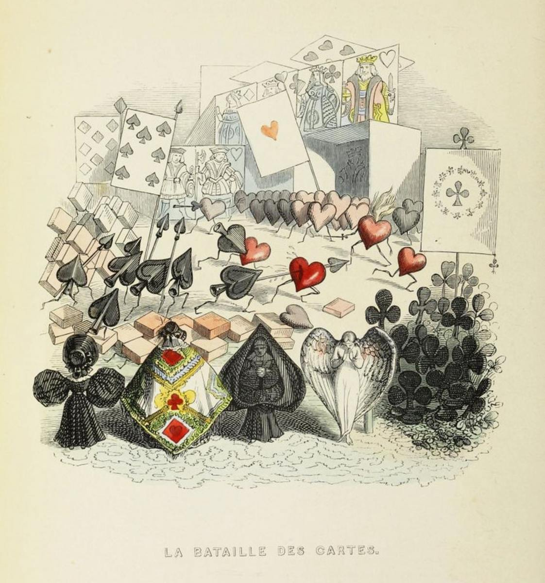 "One of Grandville's best known illustrations is ""Battle of the Playing Cards"" from Another World, 1844."