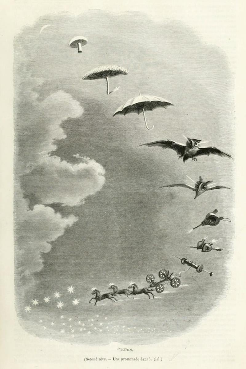 """A Promenade through the Sky,"" 1847. A mushroom becomes a parasol, which becomes an owl, then bellows, and gradually progresses into a chariot pulling the horses of night into sleep."