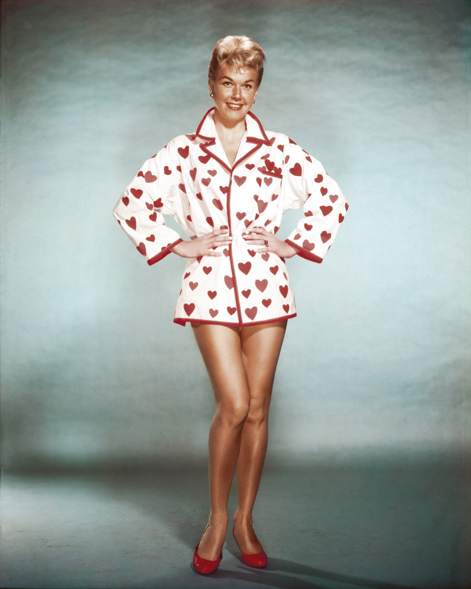 "Doris Day starred with John Raitt in the 1957 musical hit, ""The Pajama Game."" The film, one of 39 Day was in throughout her career, was based on the stage musical of the same name."