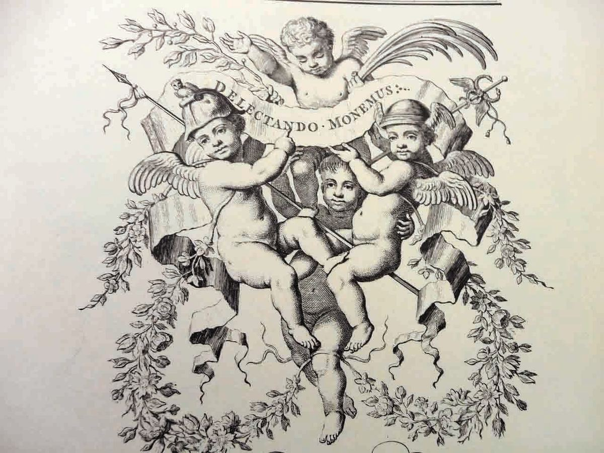 Engraving of cherubs, which were used often in illustrations.